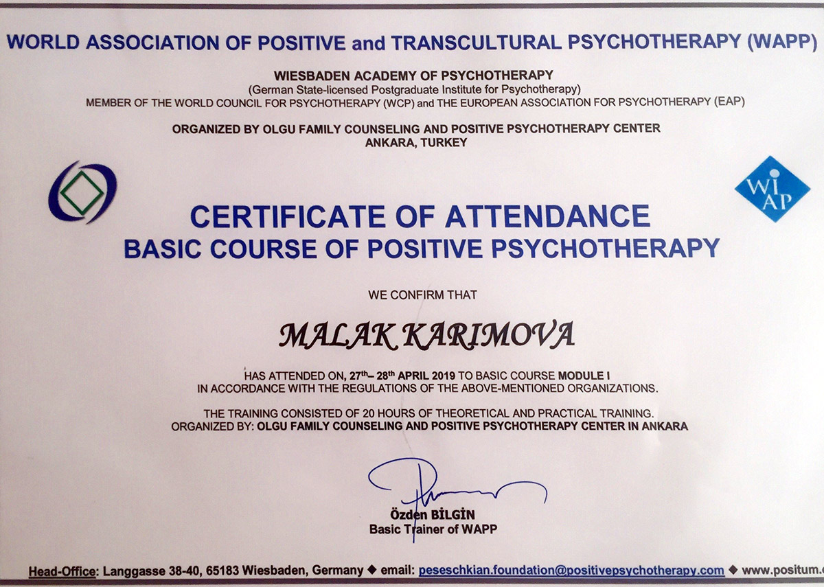 """Khazar University's Employee Takes Part in Subsequent Training on """"Positive Psychotherapy"""""""