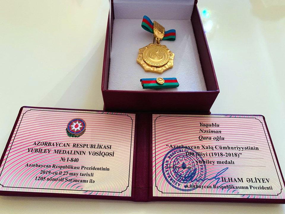 Tarix və arxeologiya departamentinin müəllimi medala layiq görüldü