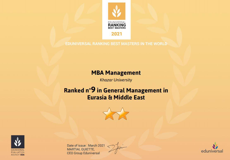 MBA Programs of Khazar University Among the Best Masters Programs 2021