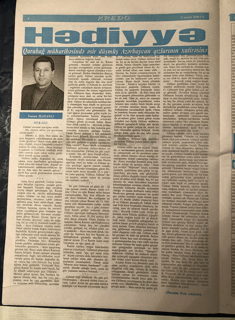"""Isakhan Isaxanli's story """"Gift"""" published in """"Kredo"""" newspaper"""