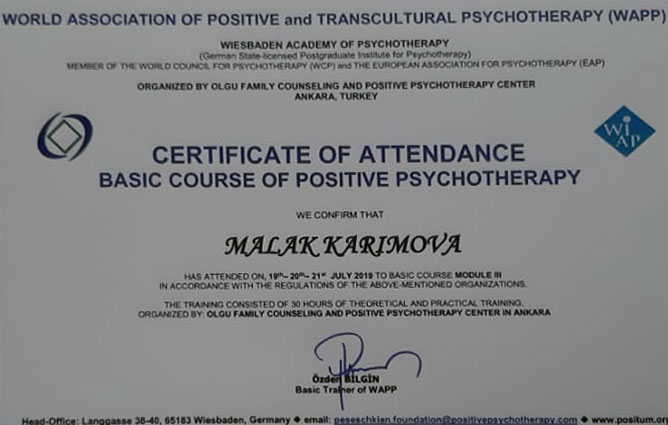 "Khazar University's Employee in ""Positive Psychotherapy"" Training"