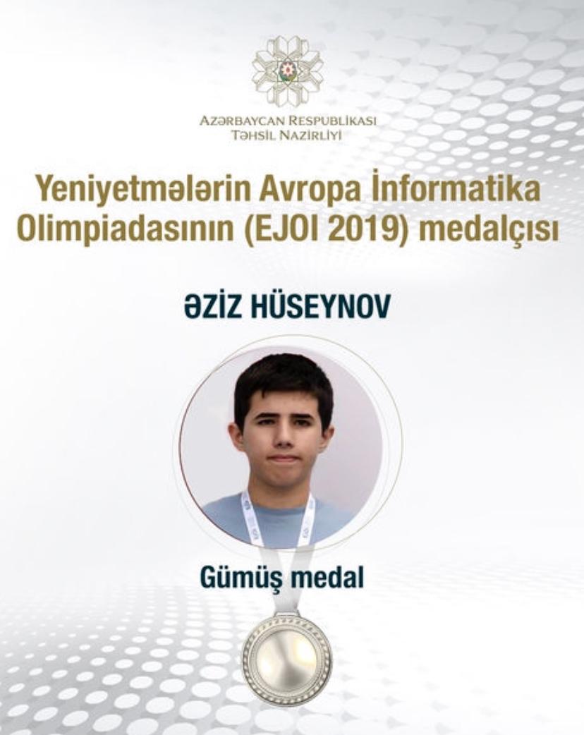 """""""Dünya"""" məktəbinin şagirdi Əziz Hüseynov Avropa İnformatika Olimpiadasında gümüş medal qazanıb"""