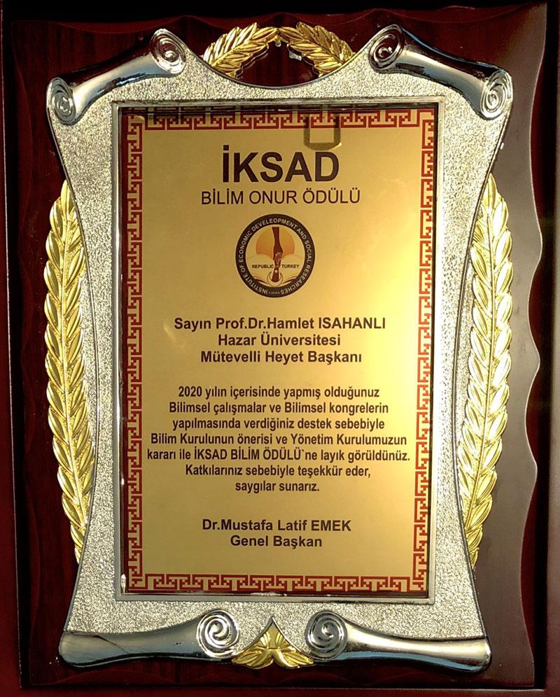 Professor Hamlet Isakhanli was awarded the IKSAD Science Award